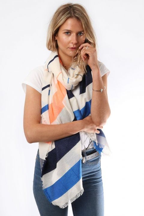 LARGE WHT BLUE AND ORANGE STRIPE SCARF